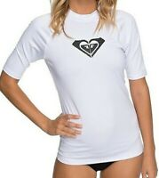 ROXY WOMENS RASH VEST.WHOLE HEARTED WHITE UPF50+ SUN PROTECTION T SHIRT TOP 9S 9