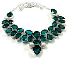 Water Pearl Silver Plated Necklace Faceted Green Olive & Fresh