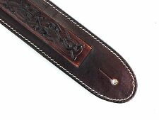 Hand Made Brown Real Leather Celtic Dog Art Electric Acoustic Bass Guitar Strap