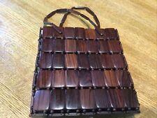 Vintage Boho Wood Bead Handbag Purse Bag 1970s Retro Hippie Wooden