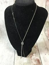 Diamante and Pewter Coloured Drop Necklace Costume Jewellery No Hallmarks