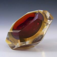 Murano Faceted Red & Amber Sommerso Glass Block Bowl #2