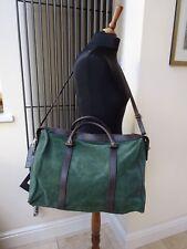 Designer Nine2 Twelve Grab Leather Bag Green Suede Halldal Weekend Bag New