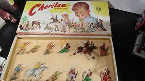 Cherilea BOXED SET Lead Cowboys Indians 12 Figures