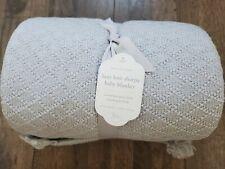 NWT Pottery Barn Kids Luxe Knit Sherpa Baby Blanket Light Blue Grey Soft