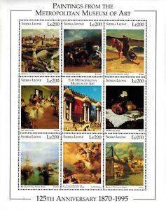 VINTAGE CLASSICS - Sierra Leone 1871 Metropolitan Art - Sheet Of 9 - MNH