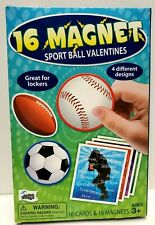 16 Sports Valentine Cards W/ Magnets- 16 Cards & 16 Magnets