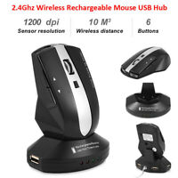 2.4GHz Rechargeable Wireless Optical Mouse Gaming Mice Charging Dock Stand USB C