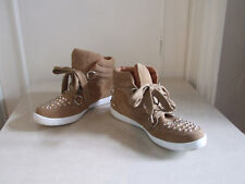 Wonderful Camel / Tan Studded Suede Ankle Boots Flat Shoes Trainers UK 7 EU 41