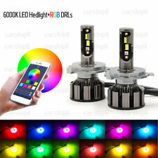 2x H4 9003 HB2 72W Car LED RGB Headlight Bluetooth Control Drive Fog Lamp Bulbs