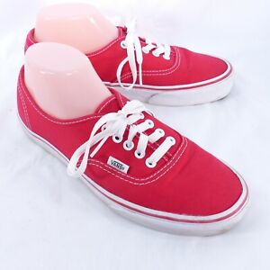 Vans Red & White Low Top Laced Canvas Shoes Sneakers Men's 8 Women's 9.5 T375