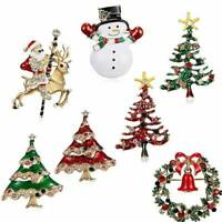 Crystal Snowman Stockings Christmas Tree Santa Brooch Pin Novelty Women Jewelry