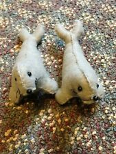 Pair of 2 handmade grey gray felt seals stuffed animal toy