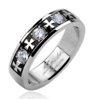 Stainless Steel Men/Women Black-CZ-Iron Cross Wedding Band Ring-Size 6-14 (1623)