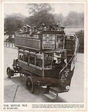 1914 Aufdruck WWI London Motor Bus Commandeered von Soldaten On Top