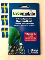 LYCAMOBILE  PREPAID SWEDISH SIM CARD. NANO, MICRO, STANDARD ALL IN ONE. LYCA