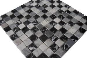 Marmor Mosaik Fliesen Naturstein Matte Schwarz / Grau / Weiss Boden Wand, 661M