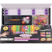 Kit S-Clips + Loom Board + 600 Rainbow Rubber Bands + Hook Bracelet Making Set
