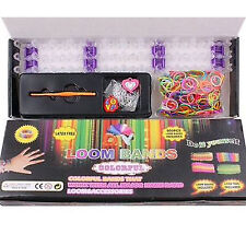 600 Colourful Rainbow Rubber Loom Bands Bracelet Making Kit Set With S-Clips