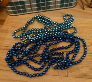VINTAGE ANTIQUE BLUE Mercury Glass CHRISTMAS Garland  2 Strands
