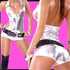 77M+SeXy PuSSyCAT Jumpsuit/ Overall hot GOGO Clubwear FASHION!! SILBER