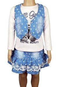 Mädchen Set Sommerset Rock Shirt Weste Jeans *NEU* K82a