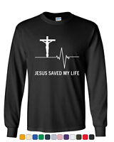 Jesus Saved My Life Long Sleeve T-Shirt Christian Religion Faith God
