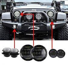 """7'' LED Headlight +Amber Signal Turn Light +4"""" Fog Lamp Kit for Jeep Wrangler JK"""