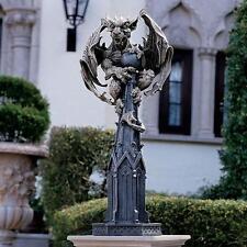 "Medieval Guardian Gargoyle Atop Gothic Architectural Spire Sculpture 30"""