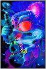 """SPACED OUT BLACK LIGHT POSTER - 23"""" X 35"""" FLOCKED TRIPPY"""