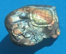 Large Carved Labradorite Turtle ( 3 Turtles on Rock )  (LT1)