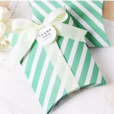 68x Mint Pillow Paper Boxes with Ribbon | Bomboniere Favour Christmas Gift Boxes