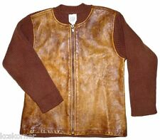 Baby Gap Cardigan Sweater Brown Luxe Leather Cotton Zip Up Boys Size 4-5 Years