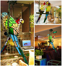 Stained Glass Double Parrots Pendant Hanging Lamp Rural Ceiling Chandelier Light