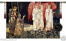 Medieval fine Tapestry angel Knights TREE Jacquard Woven made Wall Hanging 47x33