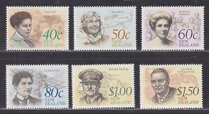 "New Zealand Scott 987-992 XF MNH 1990 New Zealand Heritage ""The Achievers"" Issue"