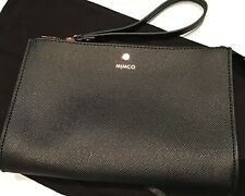 MIMCO Sublime Gusseted Medium Leather Wristlet Clutch Pouch AUTHENTIC New BLACK