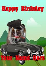 Lento Loris chofer Driver nfd225 Tarjeta de Cumpleaños Divertido Lindo Personalizado