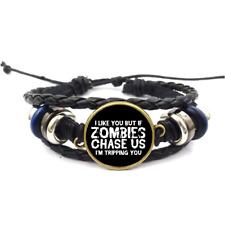 Zombies Chase Us Glass Cabochon Bracelet Braided Leather Strap Bracelets