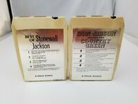 Vintage Country 8 Track Tapes Set of 2 Don Gibson & Stonewall Jackson Best of