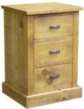 PAIR OF NEW SOLID WOODEN BEDSIDE  CHESTS 2 CABINETS RUSTIC PLANK PINE FURNITURE