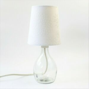 IKEA BRAN Glass Table Lamp Base Lighting Wired Home Modern With Floral Shade