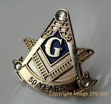 ZP320 Freemason Masonic lapel pin badge G Geometry Square Compass 50 years