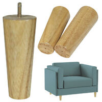 Wooden Rubber Furniture Legs Unfinished Set of 4 Clear Coated Tapered 6 inch