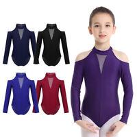Kids Girls Ballet Dance Leotard Long Sleeve Gymnastics Mesh Cutout Back Jumpsuit