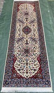 Wunderschöner feiner Orientteppich NAIN 253x80 Kaschmir Wolle Galerie Läufer TOP