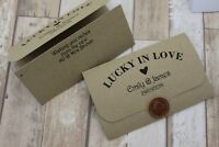 Personalised Wedding Favour Lottery/Scratchcard holder Lucky in love curves