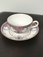 ROYAL WORCESTER tea cup and saucer  blue & floral older chintz band teacup
