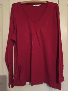 Ladies Cotton Embroidered Size 26/28 Red Top From M & Co