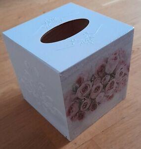 Rose Flowers Tissue Square Box Cover Holder wooden handmade decoupaged